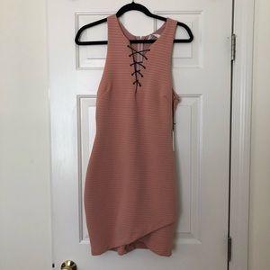 Lace up mayve/dusty rose mini dress